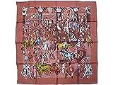 HERMES スカーフ ブラウン (エルメス) HERMES スカーフ ソルド カレ 90x90 CLERC ピンクブラウン/ブルー/ピンク 241061 [並行輸入品]