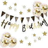 誕生日 飾り付け セット ガーランド*4本 風船*6個 ゴールド きらきら 華やか おしゃれ バースデー デコレーション