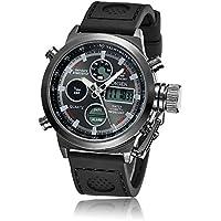 GOHUOS 腕時計 メンズ LED アナデジ スポーツ アラーム 日付曜日 クロノグラフ 多機能ウォッチ ブラック-A