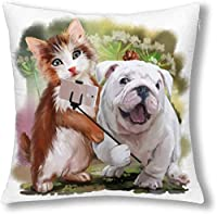 面白い猫と犬自分撮り水彩画の装飾装飾枕ケースクッションカバージッパー投げ枕カバープロテクター18×18インチ