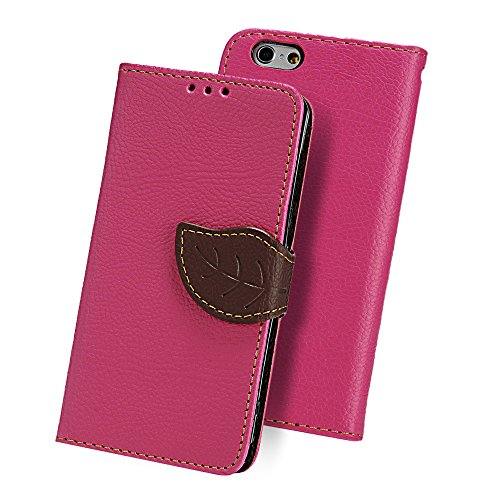 YOKIRIN? iPhone6(4.7inch)対応ケース カワイイ純色カバー 手帳型 横開き PUレザー ストラップ付 カードケース付 スタンド機能 装着やすい 防塵 保護 ローズ