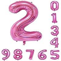 40インチ 風船 (0-9)ピンクの数字ヘリウムの誕生日パーティーの装飾のアラビア数字2