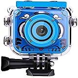 2.0液晶画面キッズデジタルカメラ、HD水中ビデオカメラ防水誕生日祭り玩具グレートギフト子供 Blue