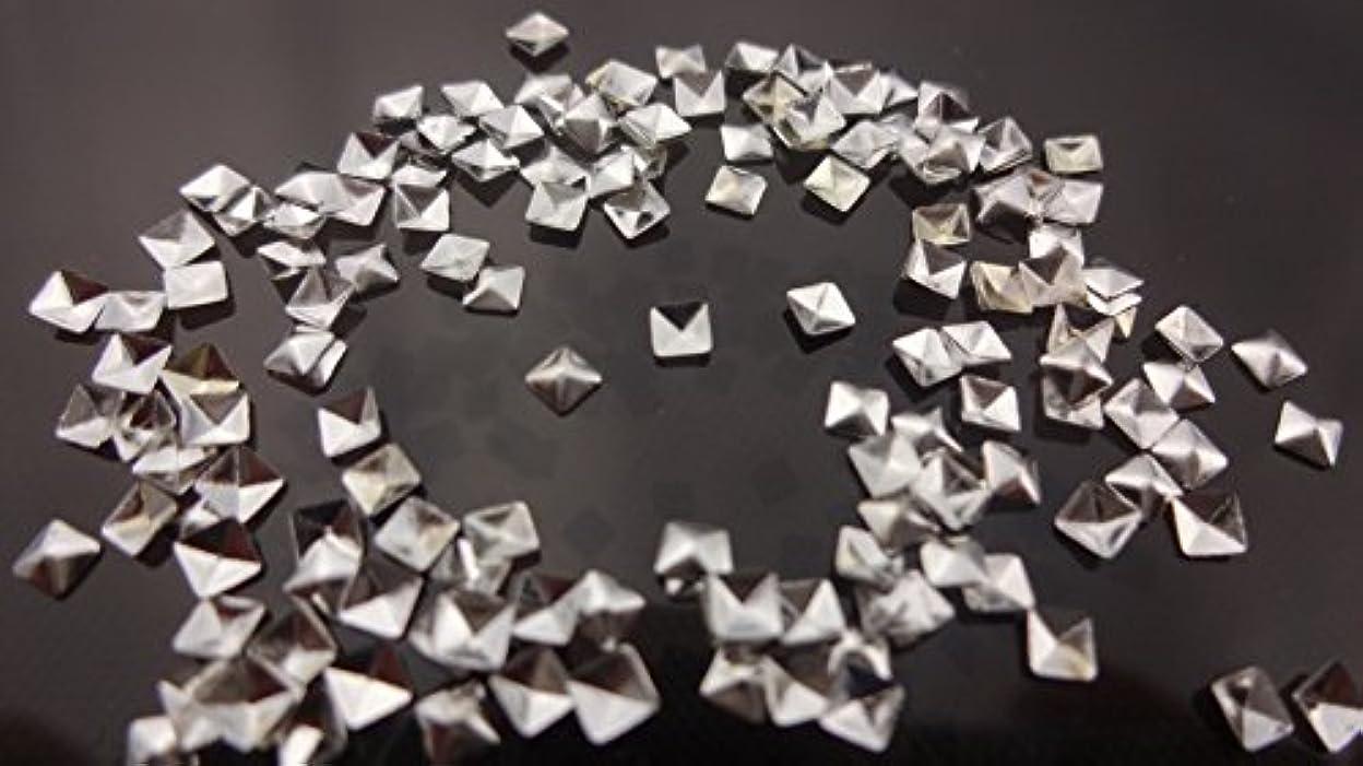 排除特異性喉頭【HARU雑貨】メタルスタッズ スクエア 四角 ピラミッド型 10個/ネイル パーツ デコ アクセサリー (2.5mm, シルバー)