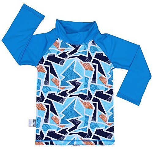 Design Inc. 幼児用,ラッシュガ-ドシャツ、セット、50+日焼予防(シャツS 0-6m,氷山)