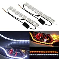 Pulusi 2Pcs LED Daytime Running Light Flowing Turn Signal Light Car Strip Lights Headlight LED Amber White DRL Fog Lamp [並行輸入品]