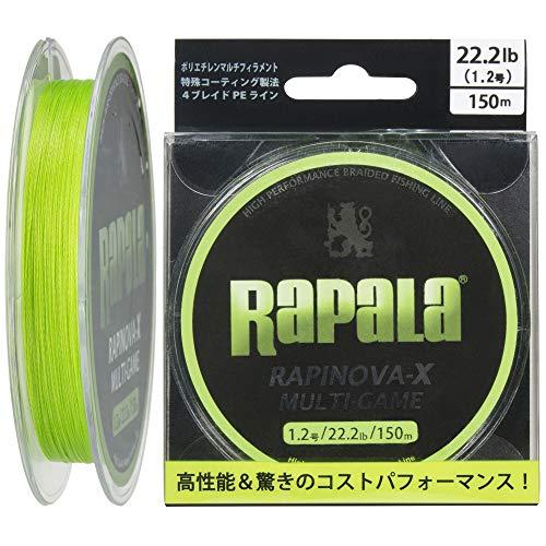 Rapala PEライン ラピノヴァX マルチゲーム 150m 1.2号 22.2lb 4本 ライムグリーン RLX150M12LG
