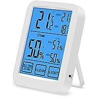 ASITA 温湿度計 デジタル 室内温度計 LCD大画面温湿度計 最高最低温湿度表示 タッチスクリーンとバックライト機能あり 置き掛け両用タイプ マグネット付