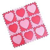 Baosity 9枚組  ベビージム プレイマット ジョイントマット カラーマット フロアパズル 赤ちゃんを守る 全5種類 - 愛ピンク赤