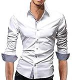 【 Smaids×Smile 】 ボタン スリム メンズ 長袖 チェック フィット ワイシャツ カジュアル ドレス (M, ホワイト)