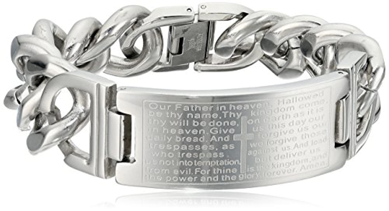 Crucible Jewelry メンズ ステンレススチール 主の祈り カーブチェーン ID識別ブレスレット 20mm 9インチ ホワイト