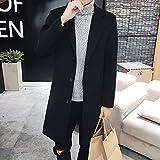 BOXUAN メンズ ロング丈 ラシャコート 無地 ボタン チェスターフィールドコート ファッション 秋 冬 紳士服 細身防寒アウター カジュアル ゆったり 大きいサイズ 黒 M~5XL
