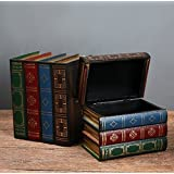 Chris.W Wooden Antique Book-Like Bookends with Hidden Storage Box Classic Decorative Library Book Ends, Set of 2(Large + Smal