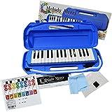 綺麗で可愛いパッケージに入った 32鍵盤ハーモニカ MelodyMerry MM-32 専用ケース クロス お名前シール 6か月メーカー保証付 + (特典)メロディーメリー ドレミが学べるシール (Blue(ブルー))