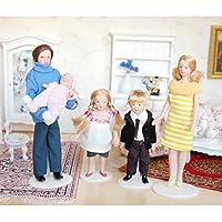 ノーブランド品 2個 1/12サイズ ドールハウス ミニチュア 磁器製 人形 飾り 2パタン選べ - イエロー