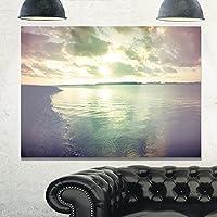 """デザインアートmt10858–20–12ダークシースケープwith Cloudy Sky Extra Largeシースケープメタル壁アート 28x12"""" MT10858-28-12"""