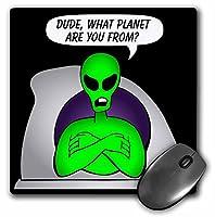 3drose LLC 8x 8x 0.25インチ、Aliens UFOs Alien Planet onブラックマウスパッド( MP _ 28604_ 1)