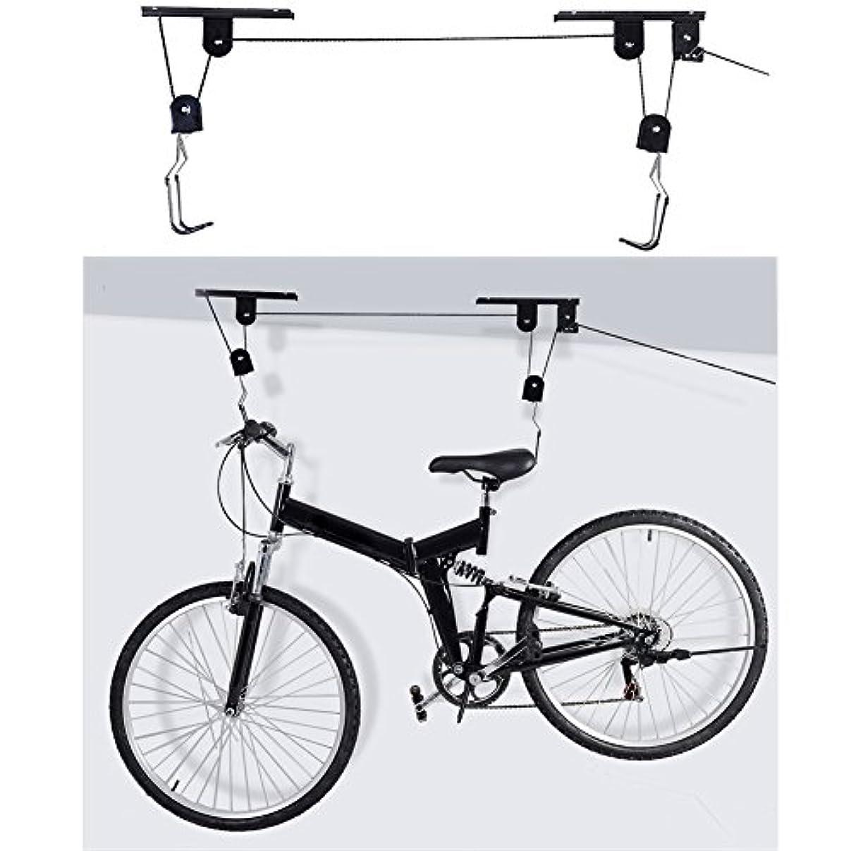 ヶ月目ひらめきリネンk-outdoor 自転車リフト バイクラック 天吊 自転車スタンド 自転車吊り下げ フック 省スペース
