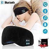 ワイヤレス 睡眠用ヘッドフォン Bluetoothスリープヘッドフォン ステレオ Bluetooth スリープアイマスク ワイヤレス Bluetoothヘッドフォン 音楽 旅行 睡眠用ヘッドセット マイク付き ハンズフリー スリープアイシェード ブラック