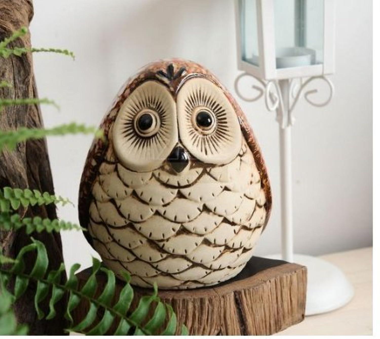 マネー バンク 居心地の良い家族のフクロウの陶器の貯金箱の家の装飾(フクロウ)