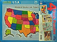 Puzzle Patch 4-Pack Picture Puzzles: United States, Trains, Ocean Animals and Zoo Animals by Puzzle Patch