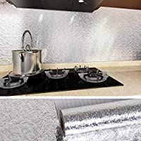 VEELIKE 40×300cmステンレス鋼壁紙 さびを防ぐ防水耐熱 オレンジの皮の質感 リフォームシート 光沢があり インテリアシール