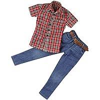 Dovewill モデル おもちゃ 12インチ男性アクションフィギュア用 1/6衣装 半袖シャツ ジーンズ ベルト
