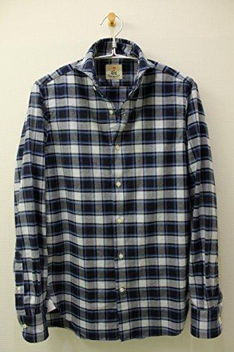 GUY ROVER(ギ・ローバー) カッタウェイネルシャツ ネイビー×ブルーチェック[ow-x2410l-552245-1] (XS{ネック37肩幅40胸囲96ウエスト88袖丈82(肩幅÷2+肩から袖先の長さ)着丈73})