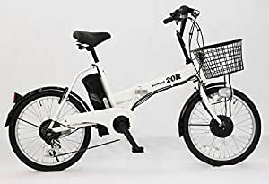 電動アシスト自転車 最大1億の賠償責任保険付 20R カラー:ホワイト 20R 20インチ折り畳み シマノ社製外装6段ギア/型式認定車/TSマーク 8Ahリチウムイオンバッテリー