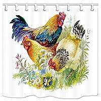 白い背景の上の芝生の農場の動物シャワーカーテンチキンとオンドリ防水ポリエステルバスルームのカーテン、12フック付きシャワーカーテンライナー、耐性 165x180cm