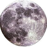 LOTEN  ラグ カーペット 絨毯 円形 地球と月の柄 滑り止め付き 床暖房対応 リビング 書斎 ドア キッチン チェアーマット 人気 ファッション プレゼント (80*80, moon)