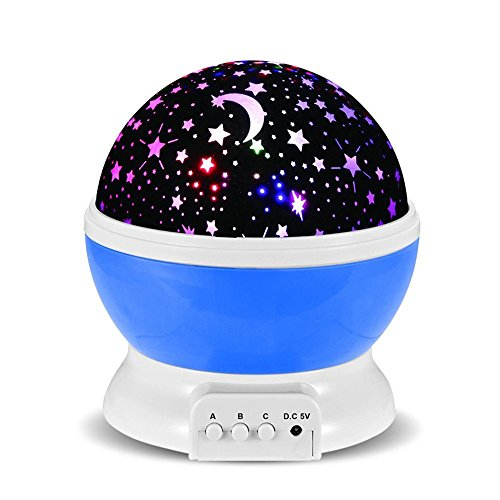 Drart 星空 投影ランタン 女性 子供 プレゼント 360℃回転 プロジェクターランプ ベッドサイドランプ(青)
