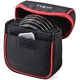 Tycka フィルターケース 日常生活防水・防塵 フィルターポーチ 5枚用 取り外し可能な内側仕切り 現場作業が容易 86mmまでの円形フィルターも対応 ブラック TK001