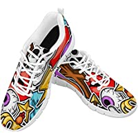 Zenzzle Women Walking Shoes Skull Breathable Sneakers Lightweight Running Shoes