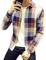 シャツ 長袖 メンズ ギンガムチェック ネルシャツ カジュアル おしゃれ 大きいサイズ ストライプ スリム シャツGlestore(グラストア)S-XXL (レッド3, M)