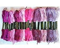 綿 25番刺繍糸 DMCと同じ色番号 紫21色25本Cセット クロスステッチ、ミサンガ等に最適(紫C) 【並行輸入品】