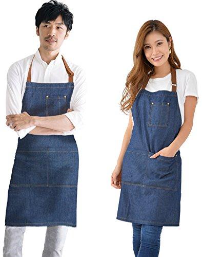 エプロン デニム [料理教室でも大好評] 身長に応じて調節で...