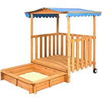 Sandboxコンボwithキャノピーテント外for Kids Toys PlayHouse with Shade for Boys and Girls Roll with Wheels木製Fort Sturdy Weather Resistant裏庭幼児用アウトドアガーデン、eBook by nakshop