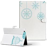 igcase Xperia Z4 Tablet SO-05G タブレット 手帳型 タブレットケース タブレットカバー カバー レザー ケース 手帳タイプ フリップ ダイアリー 二つ折り 直接貼り付けタイプ 009757 雪 結晶 青