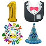 誕生日 1歳 パーティー 飾り 5点 セット 数字風船 バースデー風船 三角帽 スタイ よだれかけ ハンドポンプ (男の子)