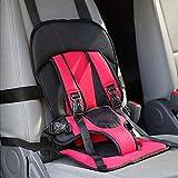 Firlar 自動車安全シート チャイルドシート ジュニアシート 厚いクッションポータブル 調整可能なポータブル フィット 取り付け簡単 調節可能 幼児のカーシート 子供安全シート ブラック&レッド