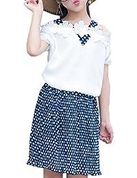 Snoneセットアップ Tシャツ+スカート 肩見せ シフォン 可愛い 2点セット ドット柄 おしゃれ 爽やか カジュアル 通園 通学 旅行 キッズ ガールズ