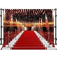 EARVO 7x5フィート レッドカーペット階段 バックドロップ スポットライト フライングリボン 写真背景 結婚式 テーマ パーティー 背景 写真撮影用小道具 EALX002