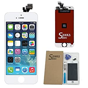 SANKA iPhone 5 フロントパネル A+ランク デジタイザ タッチパネル LCD 液晶セット ブラック アイフォーン修理バーツ 受話器の防塵ネット 交換工具付き(白)