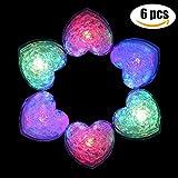 Funpa イルミネーション ライト おもちゃ 光る 氷 正方形 ハート型 点滅 LED ミニ 可愛い プレゼント パーティー プラスチック 写真 小道具 水センサー 電池式 (6個?ハート型)