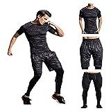 メンズ トレーニングウェア コンプレッションウェア 3点セット 半袖シャツ ハーフパンツ タイツ スポーツ トレーニング (L, ブラック1)