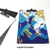 3 dパターンの クリップボード アルファベット クジラの装飾 答案用紙入れ 着色された手描きのクジラの魚とウサギと太陽漫画イラストマルチカラー