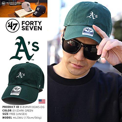 【B-BSRNR18GWS-DG】 フォーティーセブンブランド 47BRAND ローキャップ CAP 帽子 MLB メジャーリーグ オークランド アスレチックス 正規品 (01)深緑 Fサイズ
