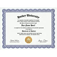 Hockey Degree: Custom Gag Diploma Doctorate Certificate (Funny Customized Joke Gift - Novelty Item) by GD Novelty Items [並行輸入品]