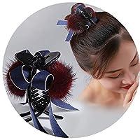 韓国の新しい毛深い大きいつかみクリップ弓生地貂シンプルなシンプルなボールヘッドティアラヘアキャッチヘアアクセサリー,ワインレッド